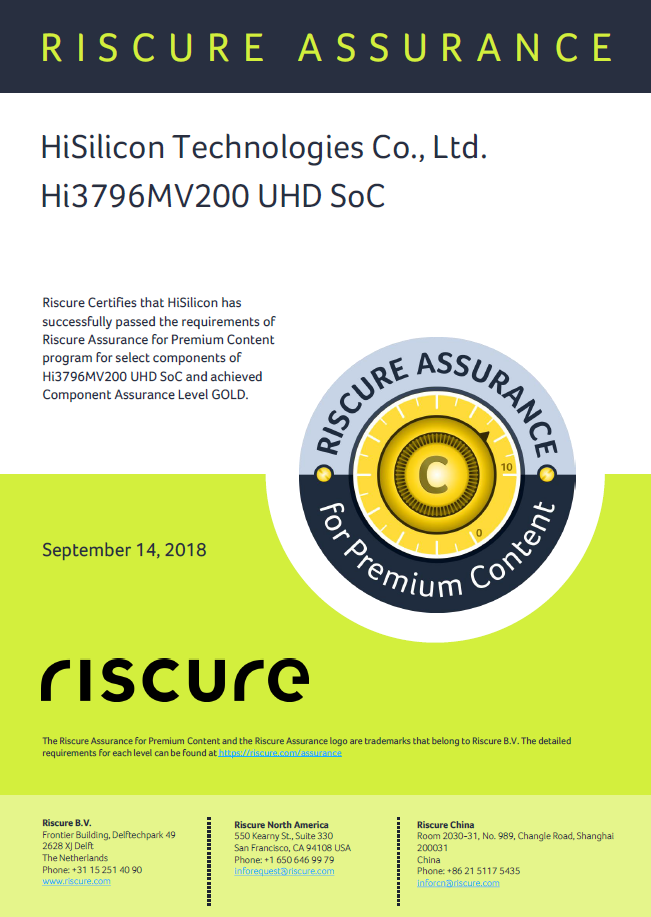 HiSilicon achieves Gold level under the Riscure Assurance